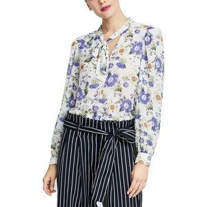 Rachel Roy Top Gail Blouse White Floral Sz 4 NEW